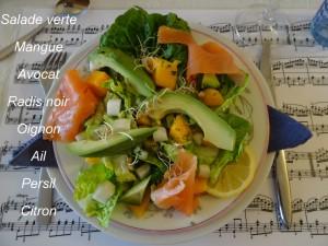 salade mangue avocat saumon fumé