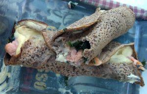 Galette de sarrasin épinard saumon fumé sans gluten sans lait